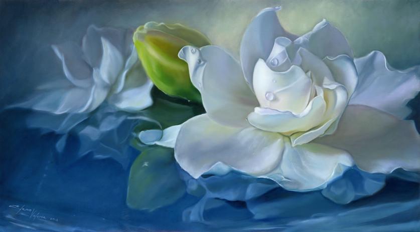 White Gardenia Flower oil painting by Elena Valerie