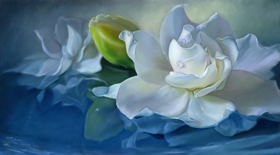 White Gardenia Flower oil painting by Elena Valerie