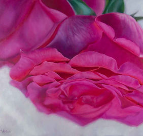 Magenta Rose oil painting commission by Elena Valerie