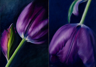 """""""The Tulips Couple"""" - Oil painting."""