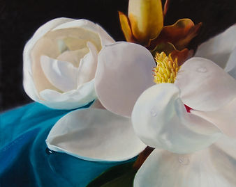 Commission of Magnolia oil painting by Elena Valerie