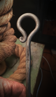 Close-up of Custom Made Hand Forged Handle