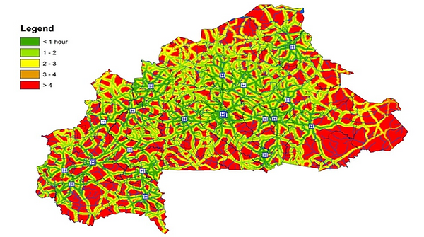Accessibility analysis done by Accessmod 5 in Burkina Faso (time to the nearest BEMOC facility)