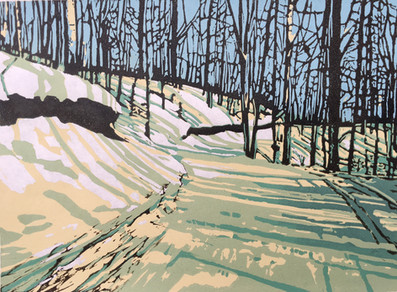 Winter's Walk, hand burnished woodblock