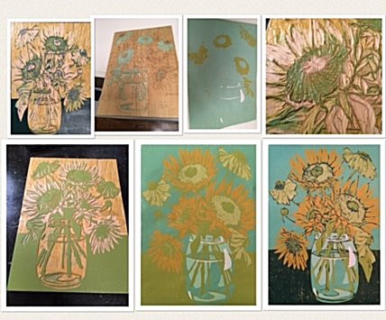 Sunflower Blooms, woodcut