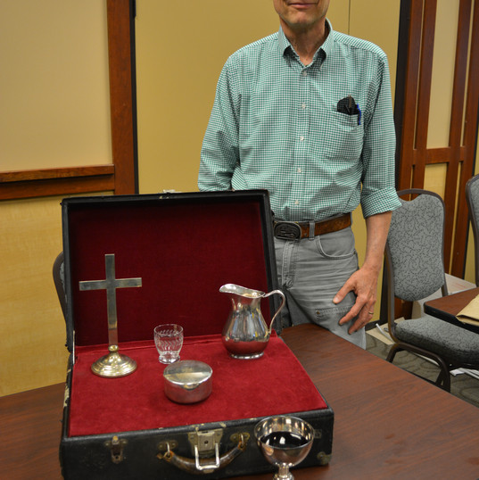 Joel Oines with comm set of his fathers-gifted to ELCA Federal Chaplaincy.JPG