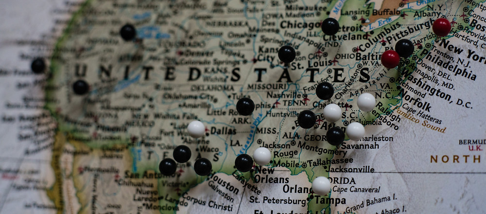 united states map, travelling pins