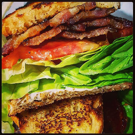 OMG BLT! Hand candied bacon piled high o