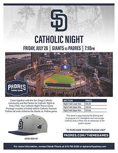 2019 Catholic Night at Petco Flyer