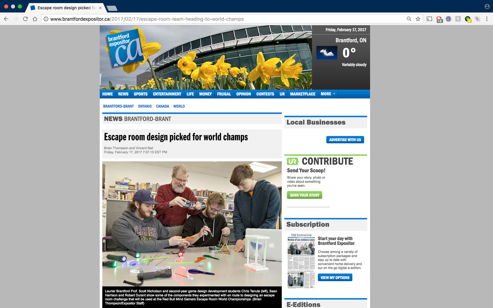 Brantford Expositor News Article