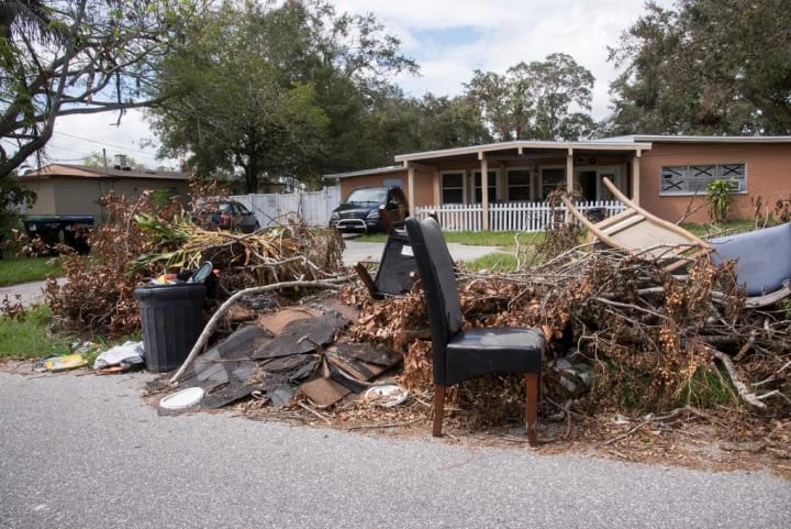 Trash after a storm