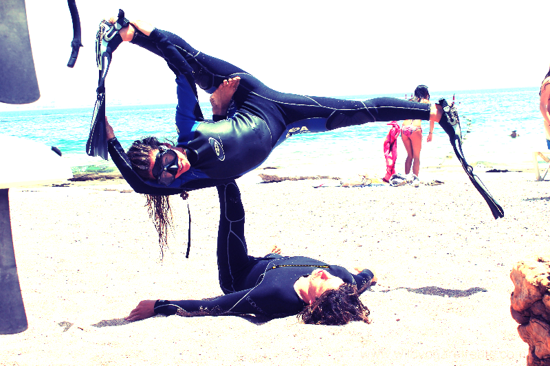 acro yoga and scuba diving