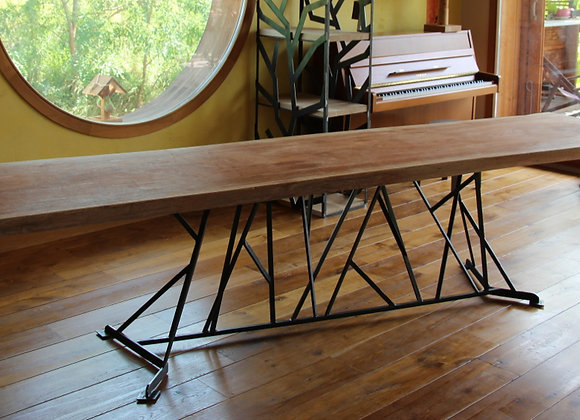 Table bois, pied central metal