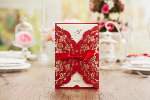 Red Vintage Lace Wedding Invitations With Ribbon Each Invitation Include 1 X Laser Cut Card Inner Envelope