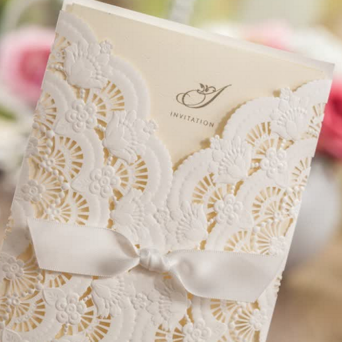 White Lace & Ribbon Vintage Wedding Invite