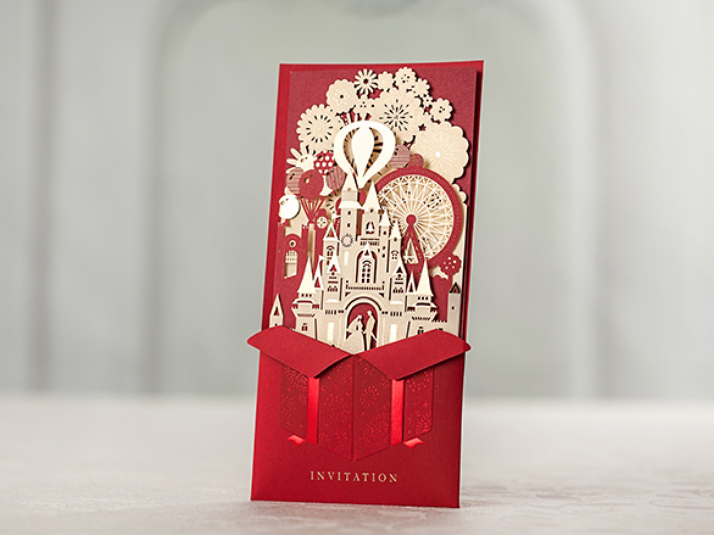 Red Wedding Invitations With Castle Design
