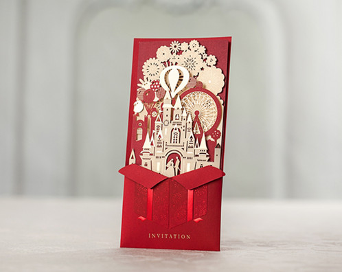 Red wedding invitations with castle design romiz design the laser cut cards and you will get a full refund for the purchase the shipping cost to return the package will be on you red wedding invitations stopboris Images