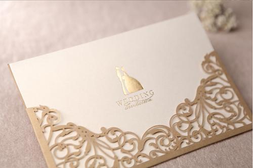 romizdesign Gold Wedding Invitations Laser Cut Wedding Invite