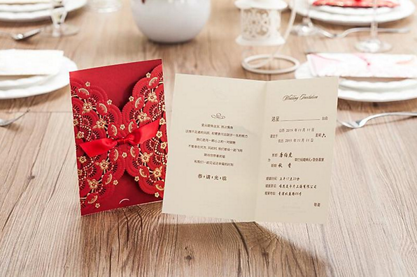 Red Vintage Lace Wedding Invitations With Red Ribbon. Each Invitation  Include: 1 X Red Laser Cut Card With Red Ribbon 1 X Inner Card 1 X Envelope  1 X ...