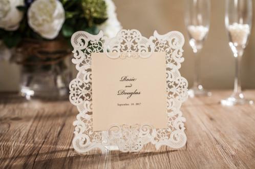 Laser cut vintage frame invitation or menu