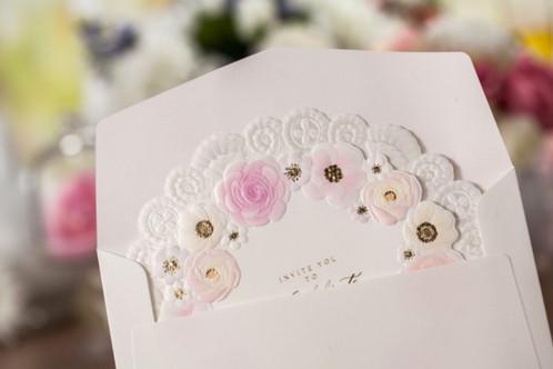 Round Floral Wedding Invitations Spring Wedding romizdesign
