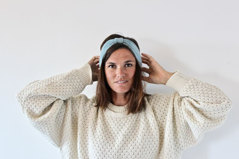 Headband noeud bleu givré