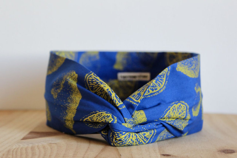 headband bandeau sérigraphie motif original textile dessin citron lemon headband créatrice artisanat made in France Lyon