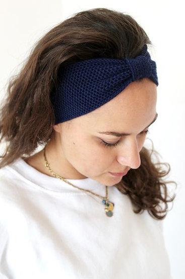 Headband noeud bleu nuit