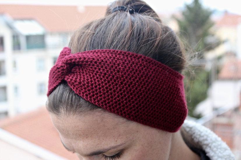 Headband turban rouge bordeaux