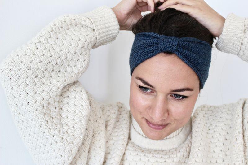 Headband noeud bleu chiné