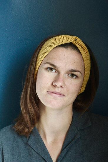 Headband turban jaune moutarde