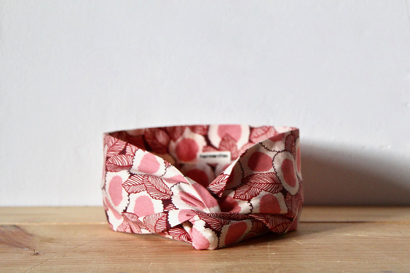 Headband bouton rose
