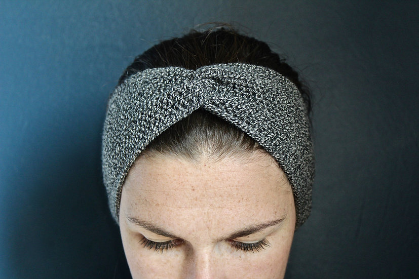 Headband turban gris chiné