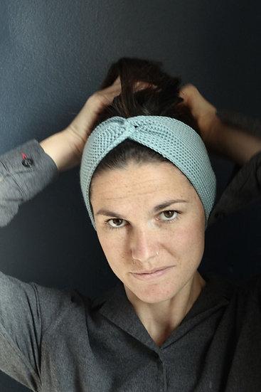 Headband turban bleu givré