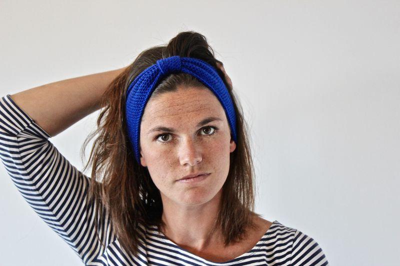 Headband noeud bleu electrique