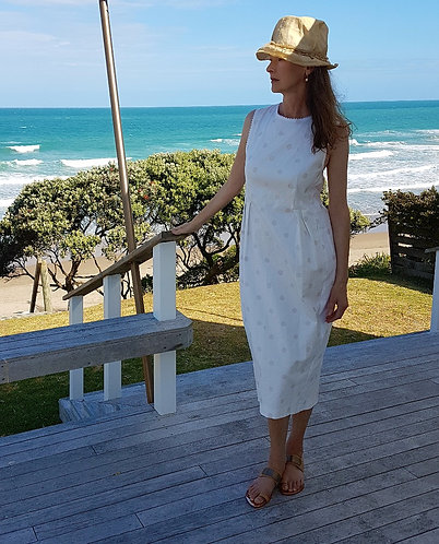 Polkodot cream cotton drill dress