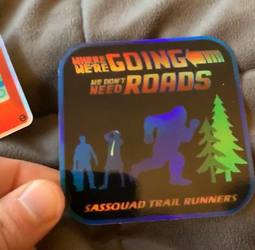 Where We're Going We Dont't Need Roads HOLOGRAM sticker