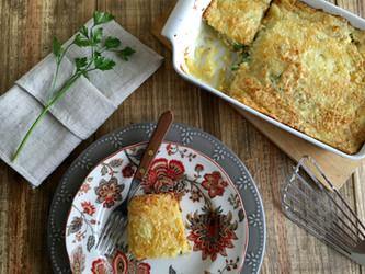 Purê de Batatas gratinado recheado com Creme de Atum e Ervilhas Frescas