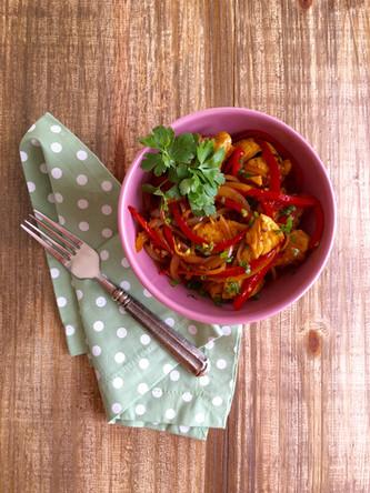Frango rápido com tirinhas de Legumes