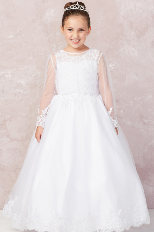 Tip Top Kids - R1182X9 First Communion Dress w/Decorative Sleeves (Plus Size)