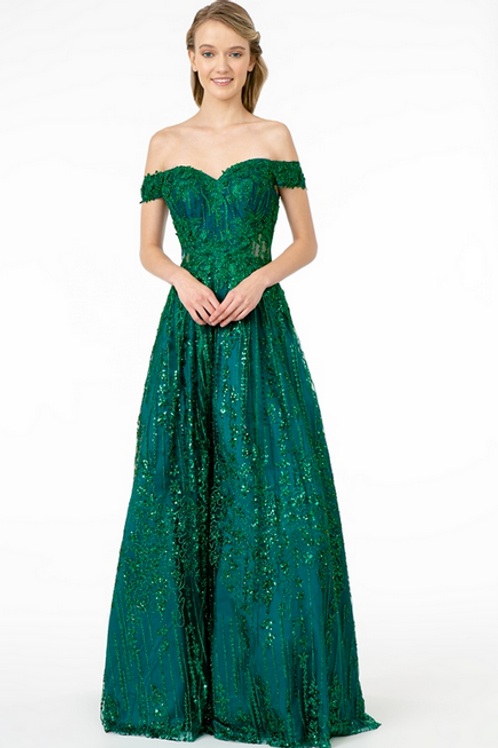 Elizabeth K - S29414 Embroidered Sequin and Glitter Embelished A-Line Dress