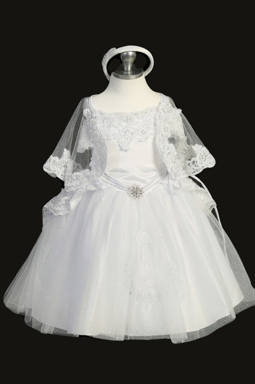 Tip Top Kids - D23539 Christening Dress with Glitter Skirt and Maria Embroidery
