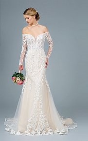 GLS - B18017 Embroidered Mesh Mermaid Wedding Gown w/Sheer Back