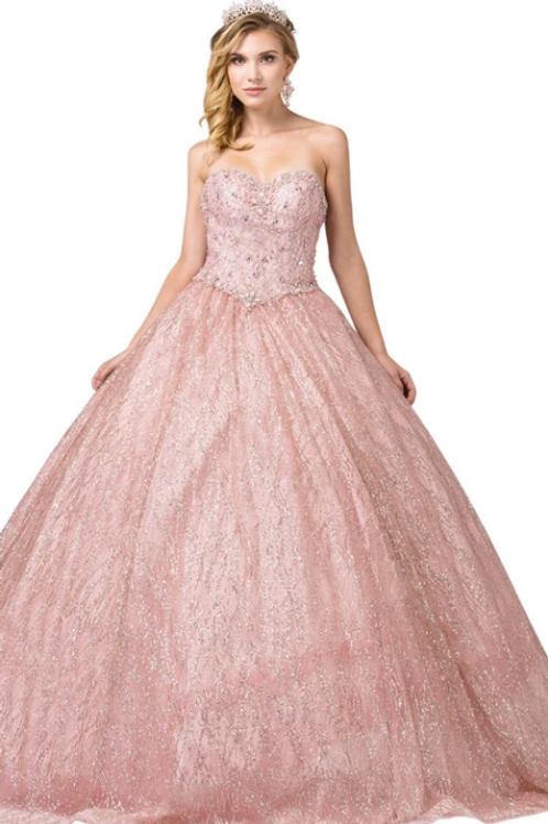 Dancing Queen - B14027 Strapless Embellished Sweetheart Ballgown w/Lace-up Back