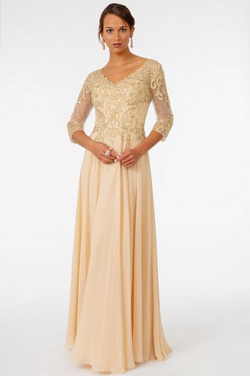 Elizabeth K - H29254 Embroidered Bodice V-Neck Chiffon Dress w/Sheer Back