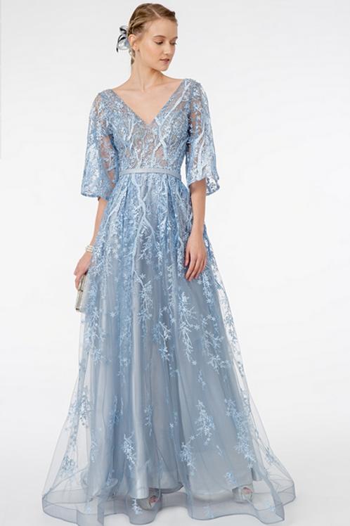 GLS by Gloria - N29738 Full Embroidered Mesh A-Line Dress w/Waist Band