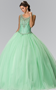 Elizabeth K - R23490 Beads Embelished Quinceañera Dress w/Scoop Neckline