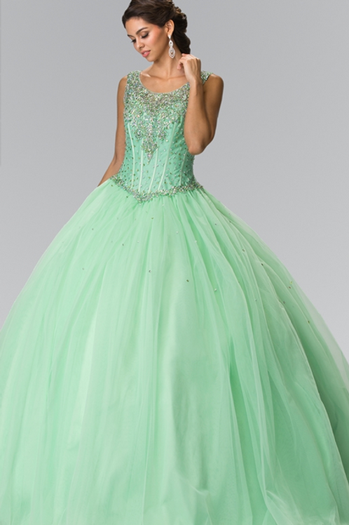 Elizabeth K - R23490 Beads Embelished Quinceañera Dress w/Scoop Neckline