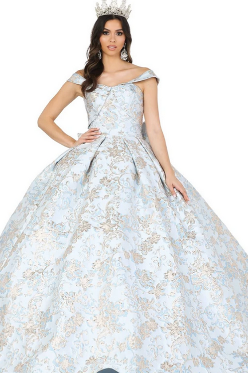 Dancing Queen - G14332 Off-the-Shoulder Gilt-Rosette Ball Gown w/Bow Accent