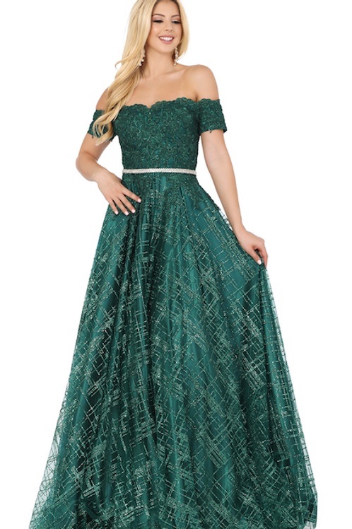 Dancing Queen - X29372 Embroidered Off-the-Shoulder A-line Dress